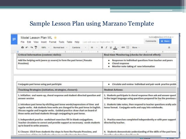 Siop in action for Marzano vocabulary template