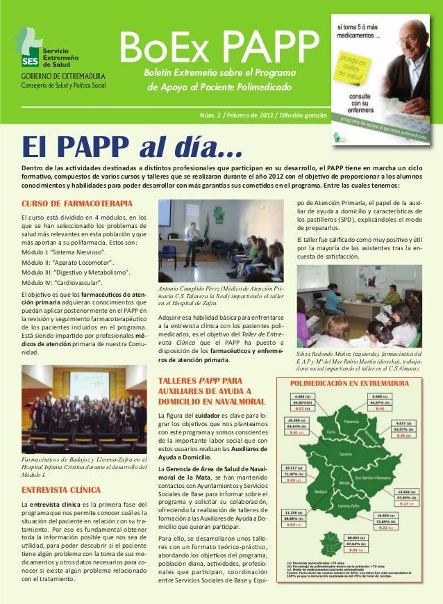 BoEx PAPP Nº 2:M  1/3/12  13:41  Página 1  Boletín Extremeño sobre el Programa de Apoyo al Paciente Polimedicado Núm. 2 / ...