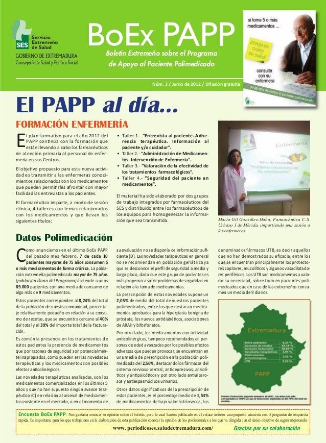 BoEx PAPP Nº 3:M  5/6/12  09:46  Página 1  Boletín Extremeño sobre el Programa de Apoyo al Paciente Polimedicado Núm. 3 / ...