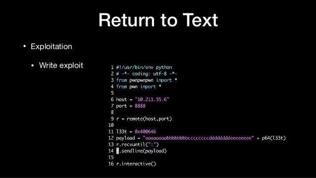 Return to Text • Exploitation  • Write exploit