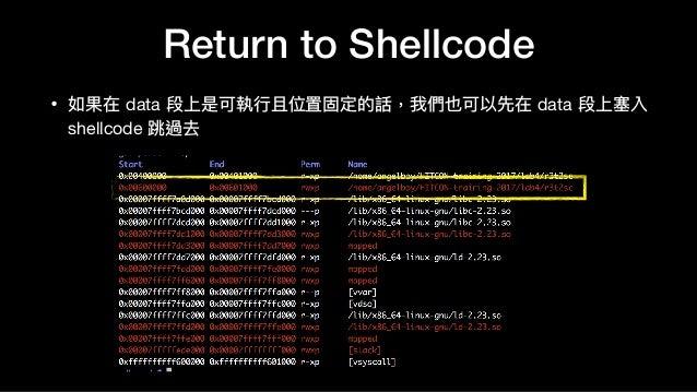 Return to Shellcode • 如果在 data 段上是可執⾏行行且位置固定的話,我們也可以先在 data 段上塞入 shellcode 跳過去