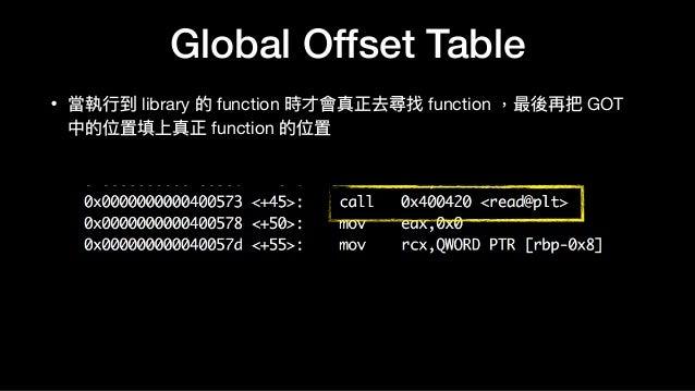 Global Offset Table • 當執⾏行行到 library 的 function 時才會真正去尋找 function ,最後再把 GOT 中的位置填上真正 function 的位置
