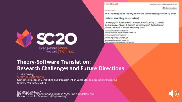 "Theory-Software Translation: Research Challenges and Future Directions November 19,2020 • BoF ""Software Engineering and Re..."