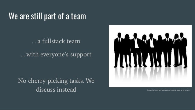 We are still part of a team … a fullstack team … with everyone's support No cherry-picking tasks. We discuss instead Sourc...