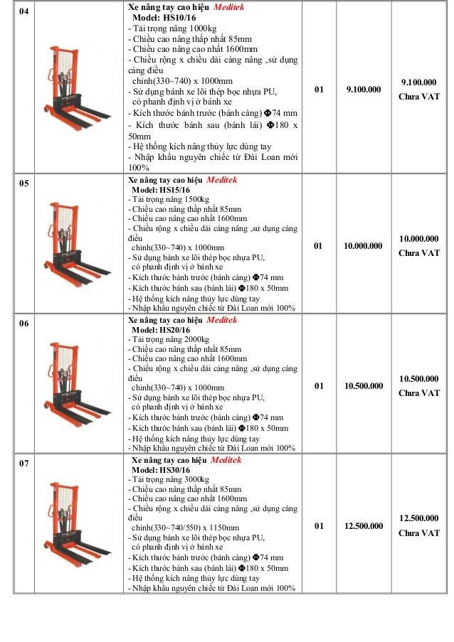 Báo giá mẫu xe nâng cao hs Meditek Đài Loan, xe nâng tay cao 400kg 500kg 1 tấn 1.5 tấn 2 tấn 3 tấn Slide 2