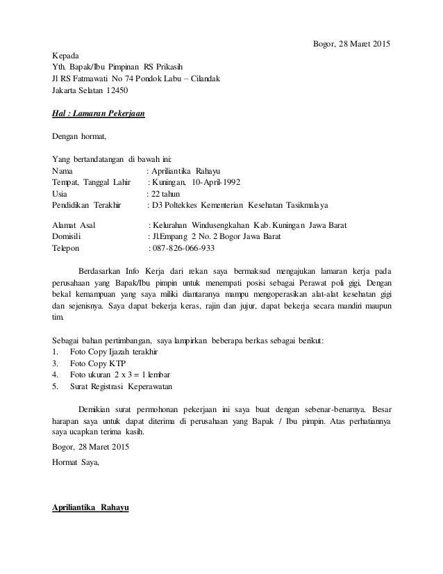 Bogor, 28 Maret 2015 Kepada Yth. Bapak/Ibu Pimpinan RS Prikasih Jl RS Fatmawati No 74 Pondok Labu – Cilandak Jakarta Selat...