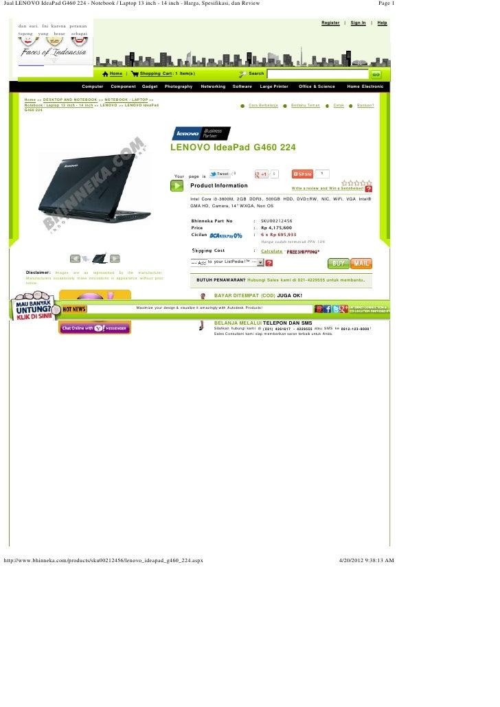 Jual LENOVO IdeaPad G460 224 - Notebook / Laptop 13 inch - 14 inch - Harga, Spesifikasi, dan Review                       ...
