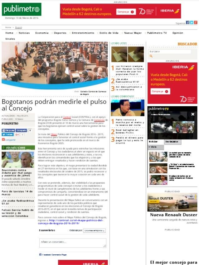 Bogotanos podrán medirle el pulso al Concejo (Diario Publimetro)