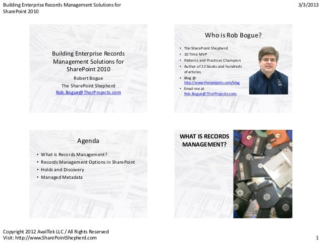 Building Enterprise Records Management Solutions for                                                 3/3/2013SharePoint 20...