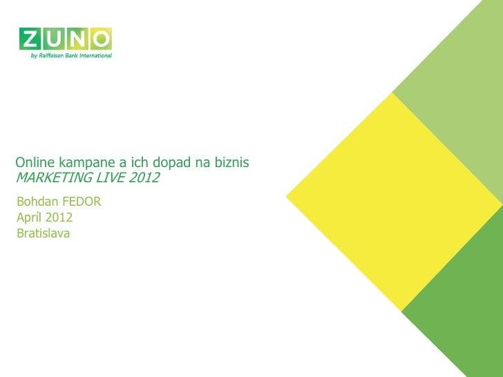Online kampane a ich dopad na biznisMARKETING LIVE 2012Bohdan FEDORApríl 2012Bratislava