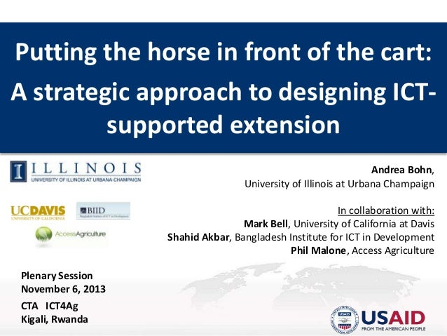 Putting the horse in front of the cart: A strategic approach to designing ICTsupported extension Andrea Bohn, University o...