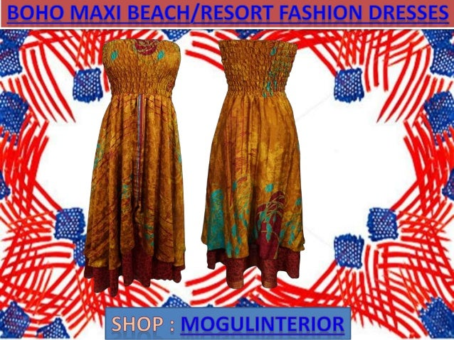 Boho maxi beach resort fashion dresses by mogulinterior Slide 3