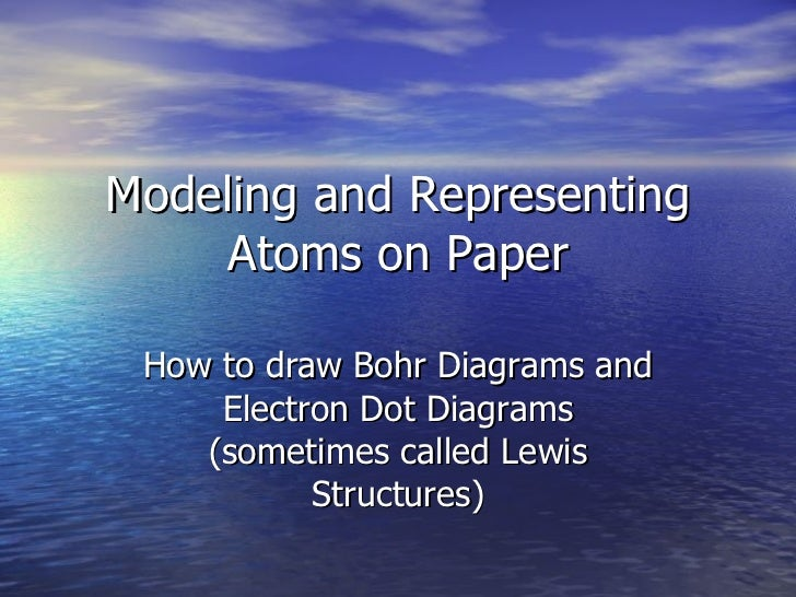 Modeling and Representing Atoms on Paper How to draw Bohr Diagrams and Electron Dot Diagrams (sometimes called Lewis Struc...