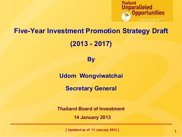 Five-Year Investment Promotion Strategy Draft                (2013 - 2017)                            By             Udom ...