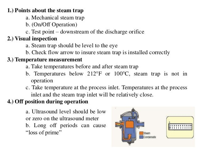 7.) Failure Modes a. Leaking steam Steam trap valve wear or linkage will cause the steam trap to leak steam. The following...