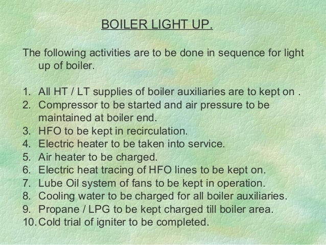 Boiler commissioning procedure
