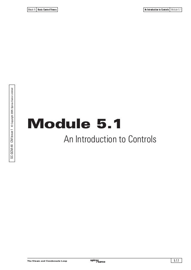 The Steam and Condensate Loop 5.1.1 An Introduction to Controls Module 5.1Block 5 Basic Control Theory Module 5.1 An Intro...