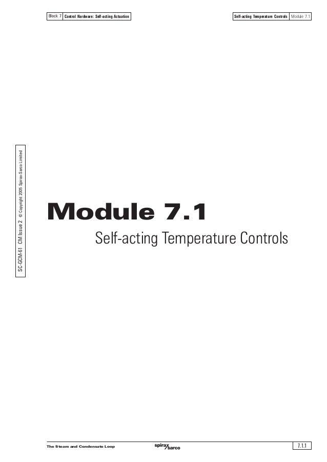 The Steam and Condensate Loop 7.1.1 Self-acting Temperature Controls Module 7.1Control Hardware: Self-acting ActuationBloc...