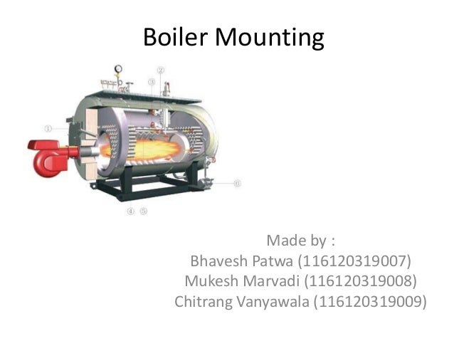 Boiler Mounting  Made by : Bhavesh Patwa (116120319007) Mukesh Marvadi (116120319008) Chitrang Vanyawala (116120319009)