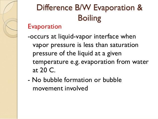 Difference B/W Evaporation &              BoilingEvaporation-occurs at liquid-vapor interface when  vapor pressure is less...