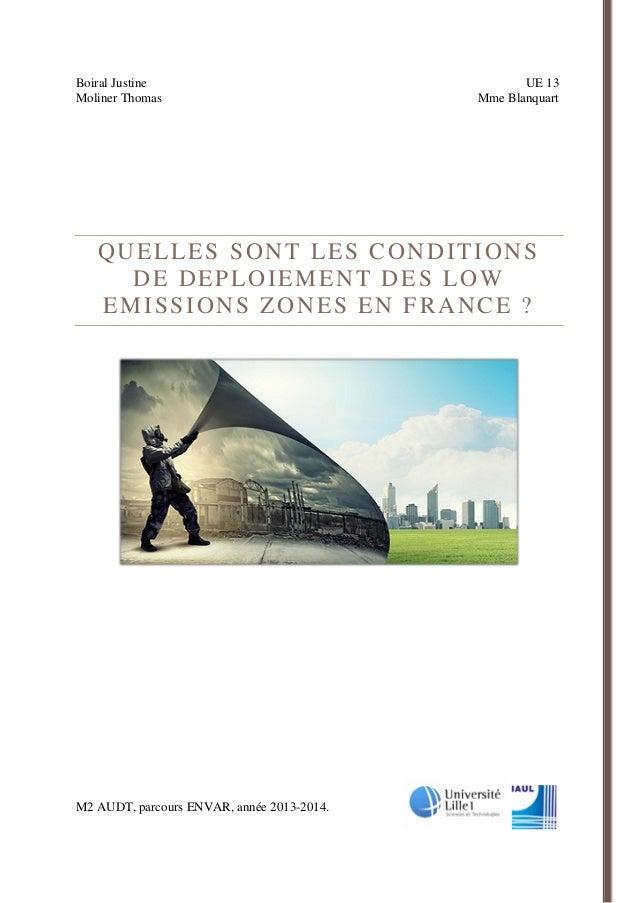 Boiral Justine UE 13 Moliner Thomas Mme Blanquart  QUELLES SONT LES CONDITIONS DE DEPLOIEMENT DES LOW EMISSIONS ZONES EN F...