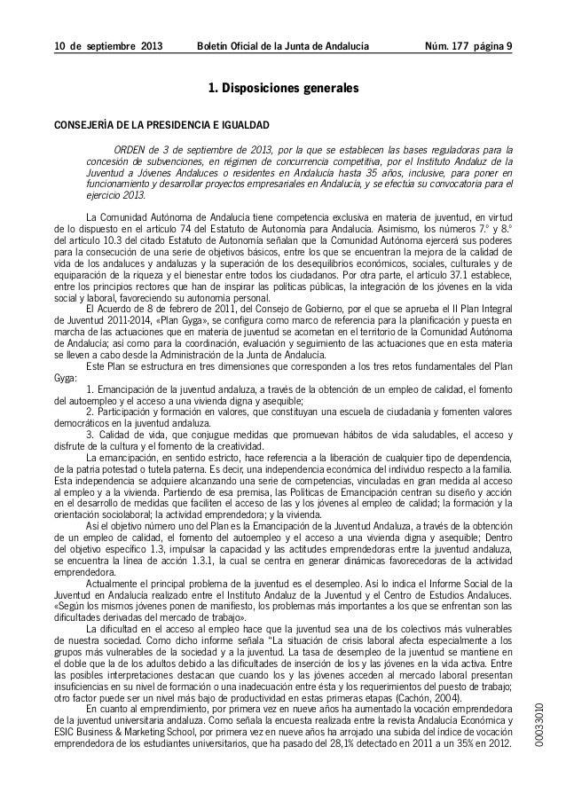 10 de septiembre 2013 Boletín Oficial de la Junta de Andalucía Núm. 177  página  1. Disposiciones generales Consejería...