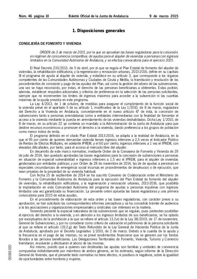 Núm. 46 página 10 Boletín Oficial de la Junta de Andalucía 9 de marzo 2015 1. Disposiciones generales Consejería de Fo...