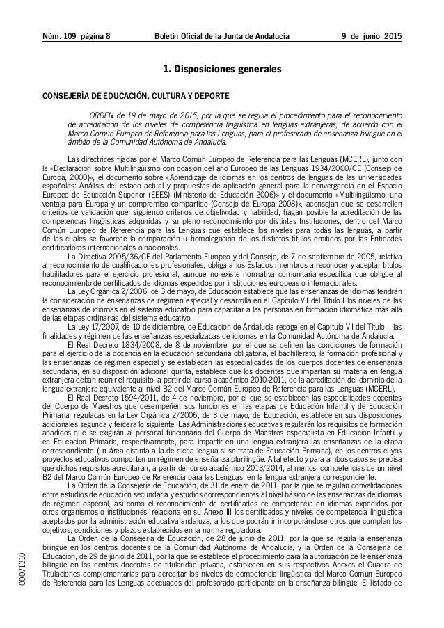 Núm. 109 página  Boletín Oficial de la Junta de Andalucía 9 de junio 2015 1. Disposiciones generales Consejería de Edu...
