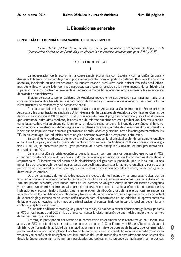 26 de marzo 2014 Boletín Oficial de la Junta de Andalucía Núm. 58  página  1. Disposiciones generales Consejería de Ec...