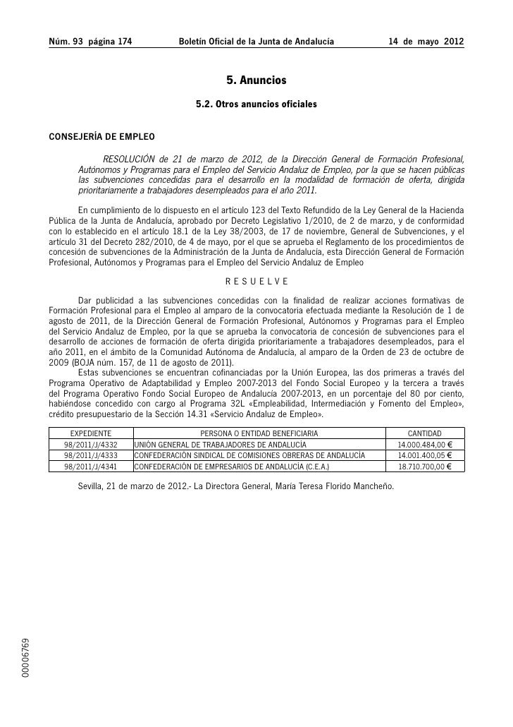 Núm. 93 página 174                Boletín Oficial de la Junta de Andalucía               14 de mayo 2012              ...