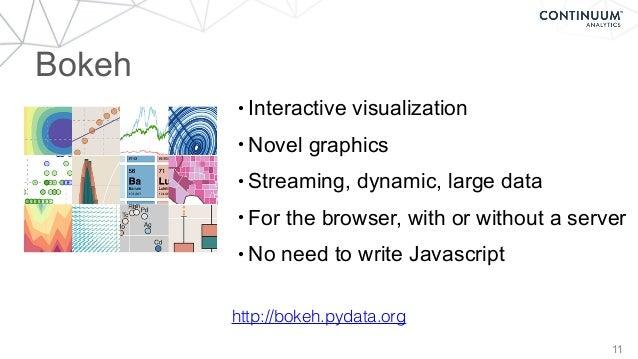 Bokeh 11 http://bokeh.pydata.org • Interactive visualization • Novel graphics • Streaming, dynamic, large data • For the b...