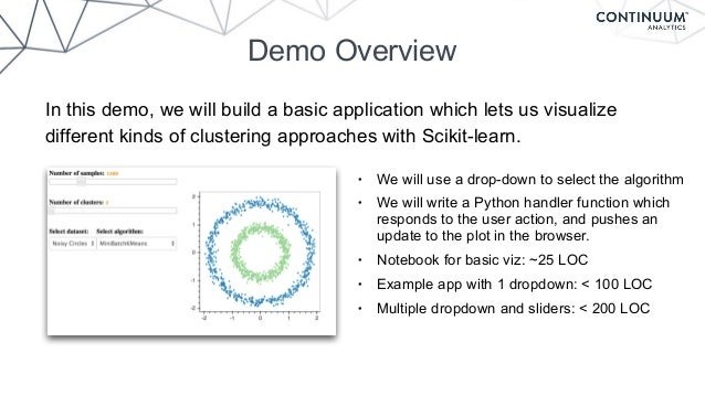 Demo Overview In this demo, we will build a basic application which lets us visualize different kinds of clustering approa...