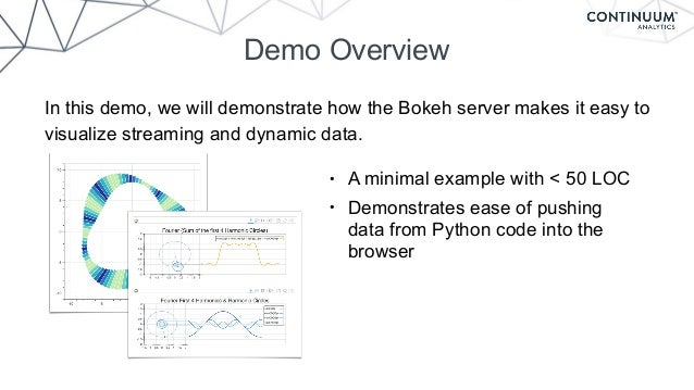 Demo Overview In this demo, we will demonstrate how the Bokeh server makes it easy to visualize streaming and dynamic data...
