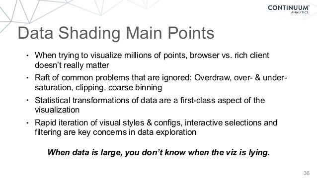 36 Data Shading Main Points • When trying to visualize millions of points, browser vs. rich client doesn't really matter •...
