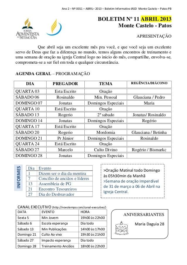 Ano 2 – Nº 0011 – ABRIL– 2013 – Boletim Informativo IASD Monte Castelo – Patos-PB                                         ...