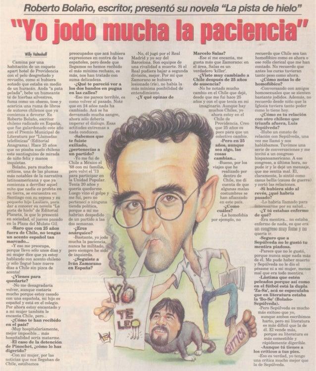 """Roberto Bolaño, escritor;presentó su novela """"Lapista de hielo"""" Marcelo Salas? Camina por una habitación de un coqueto apar..."""