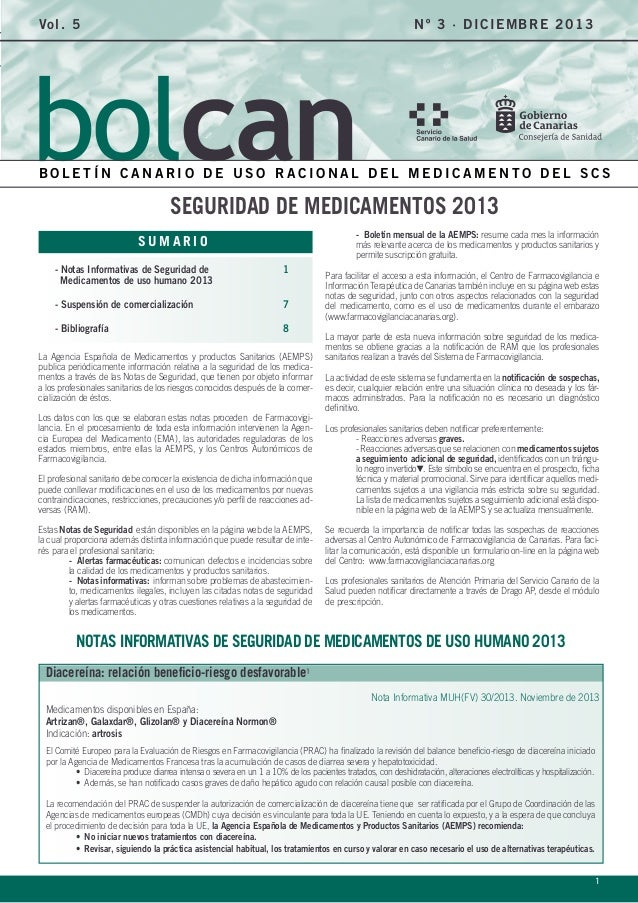 Vol. 5  Nº 3 · DIC IE M BRE 2 0 1 3  BOLETÍN CANARIO DE USO RACIONAL DEL MEDICAMENTO DEL SCS  SEGURIDAD DE MEDICAMENTOS 20...