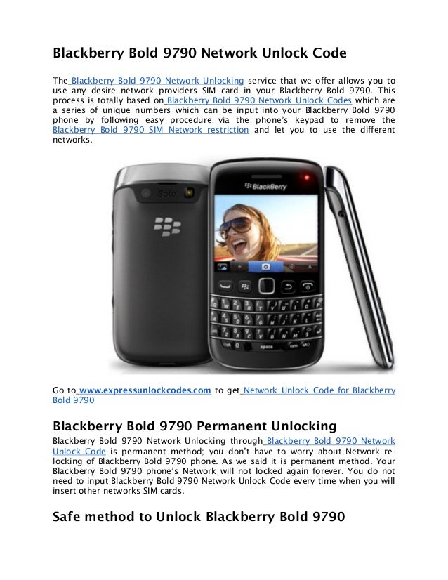 Blackberry Bold 9790 Network Unlock Code