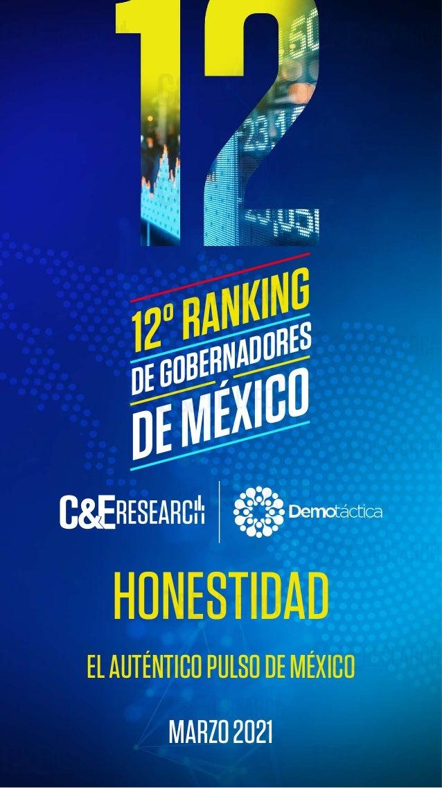 HONESTIDAD 12º RANKING DE GOBERNADORES www.rankingdegobernadores.com DEGOBERNADORES DEMÉXICO 12ºRANKING ELAUTÉNTICOPULSODE...