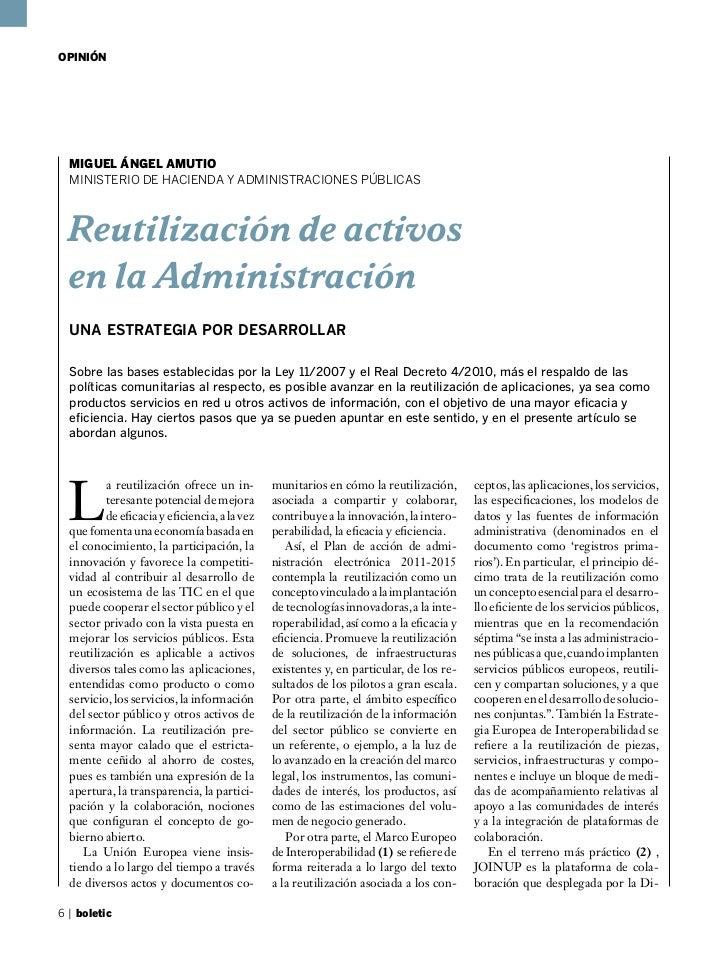 OPINIÓN  MIGUEL ÁNGEL AMUTIO  MINISTERIO DE HACIENDA Y ADMINISTRACIONES PÚBLICAS  Reutilización de activos  en la Administ...