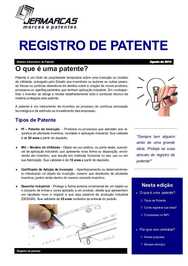 """REGISTRO DE PATENTE """"Sempre tem alguém atrás de uma grande ideia. Proteja as suas através do registro de patente!"""" Nesta e..."""