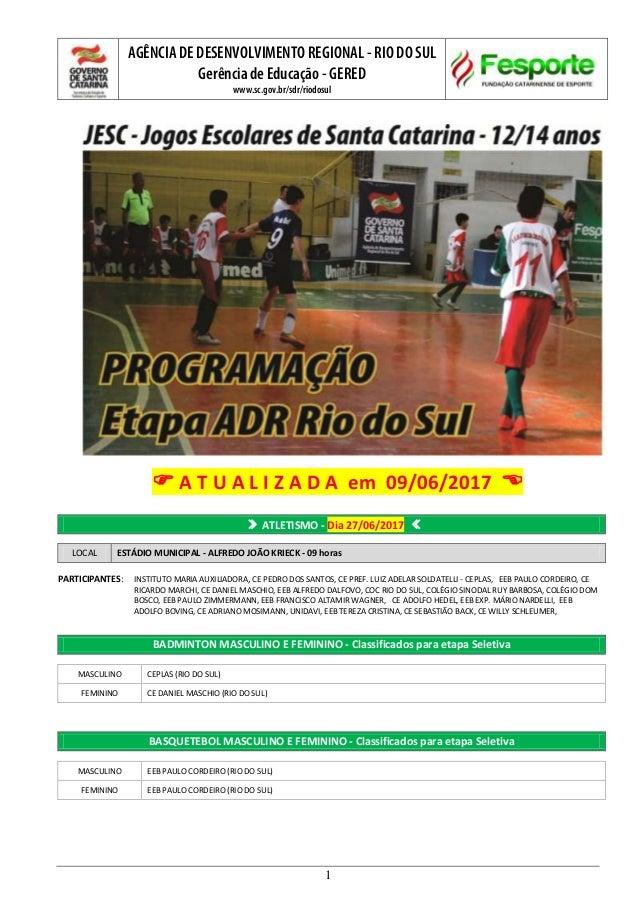 AGÊNCIA DE DESENVOLVIMENTO REGIONAL - RIO DO SUL Gerência de Educação - GERED www.sc.gov.br/sdr/riodosul 1  A T U A L I Z...