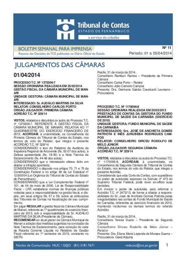 01/04/2014 PROCESSO T.C. Nº 1370306-7 SESSÃO ORDINÁRIA REALIZADA EM 25/03/2014 GESTÃO FISCAL DA CÂMARA MUNICIPAL DE MAN- A...