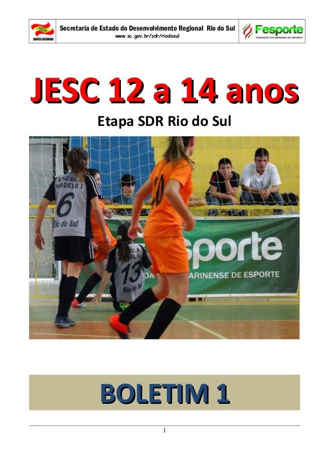 Secretaria de Estado do Desenvolvimento Regional Rio do Sul www.sc.gov.br/sdr/riodosul JESC 12 a 14 anosJESC 12 a 14 anos ...