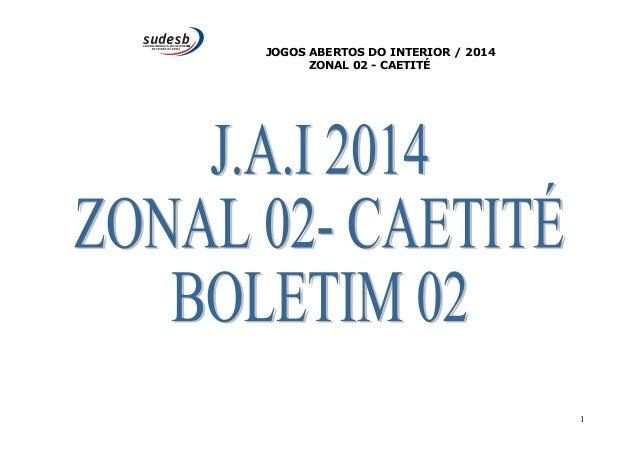JOGOS ABERTOS DO INTERIOR / 2014  ZONAL 02 - CAETITÉ  1