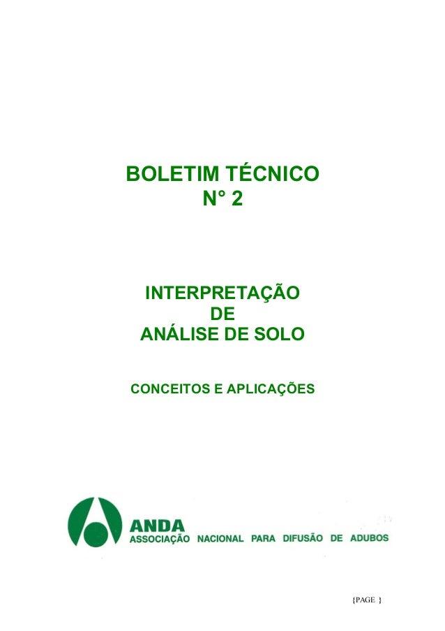 {PAGE } BOLETIM TÉCNICO N° 2 INTERPRETAÇÃO DE ANÁLISE DE SOLO CONCEITOS E APLICAÇÕES