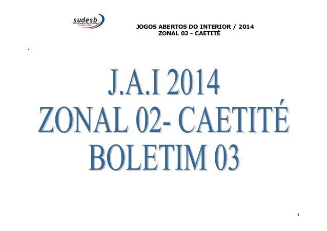 JOGOS ABERTOS DO INTERIOR / 2014  ZONAL 02 - CAETITÉ  ''  1