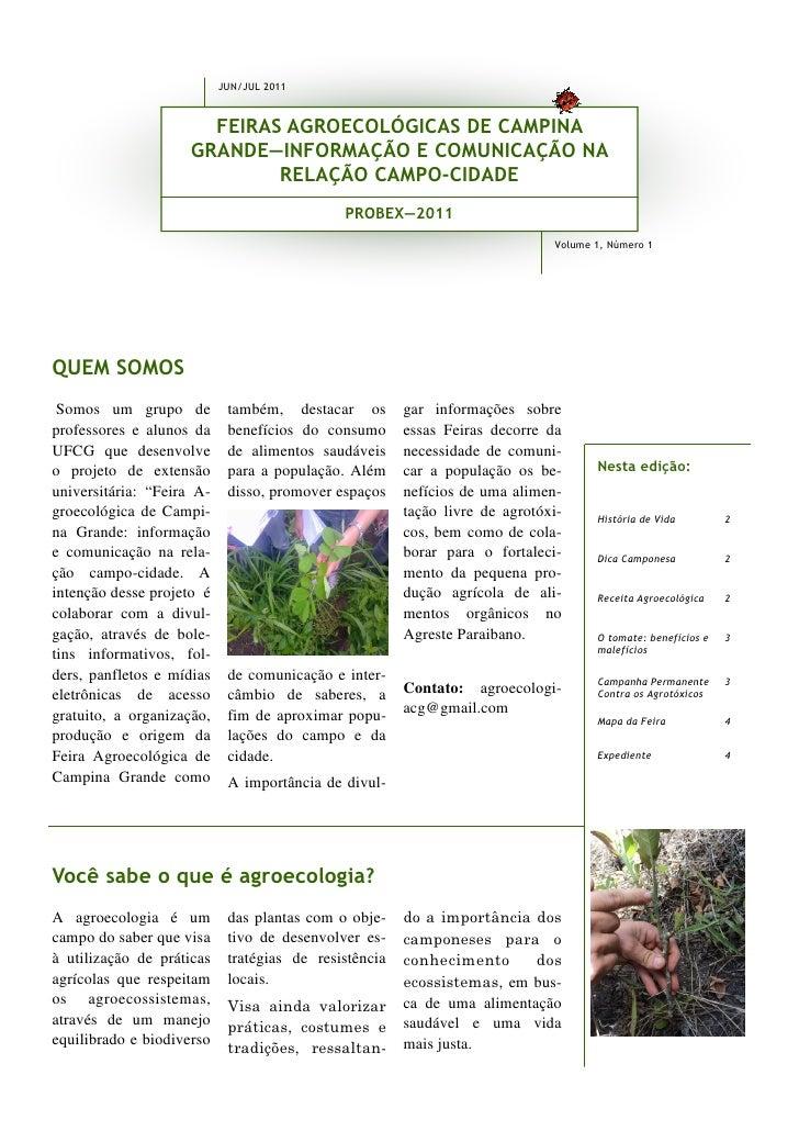 JUN/JUL 2011                       FEIRAS AGROECOLÓGICAS DE CAMPINA                     GRANDE—INFORMAÇÃO E COMUNICAÇÃO NA...