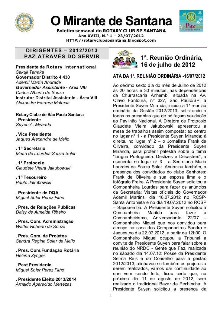 O Mirante de Santana                   Mirante                     Boletim semanal do ROTARY CLUB SP SANTANA              ...