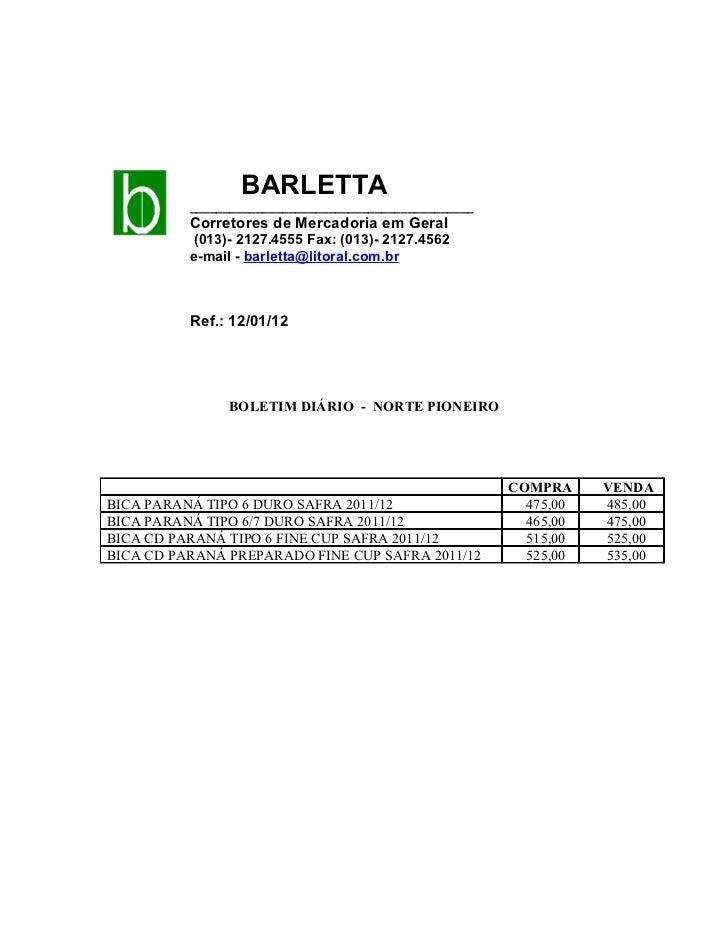 BARLETTA          ___________________________________________          Corretores de Mercadoria em Geral          (013)- 2...